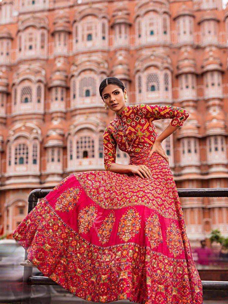 Red Silk Chanderi Anarkali Gown with Amazing Mirror Work