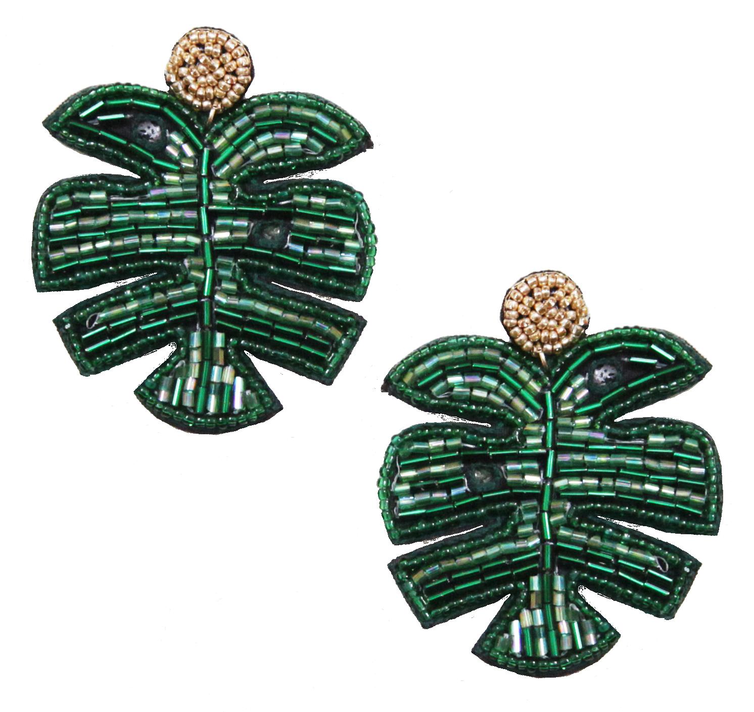leaf earrings green