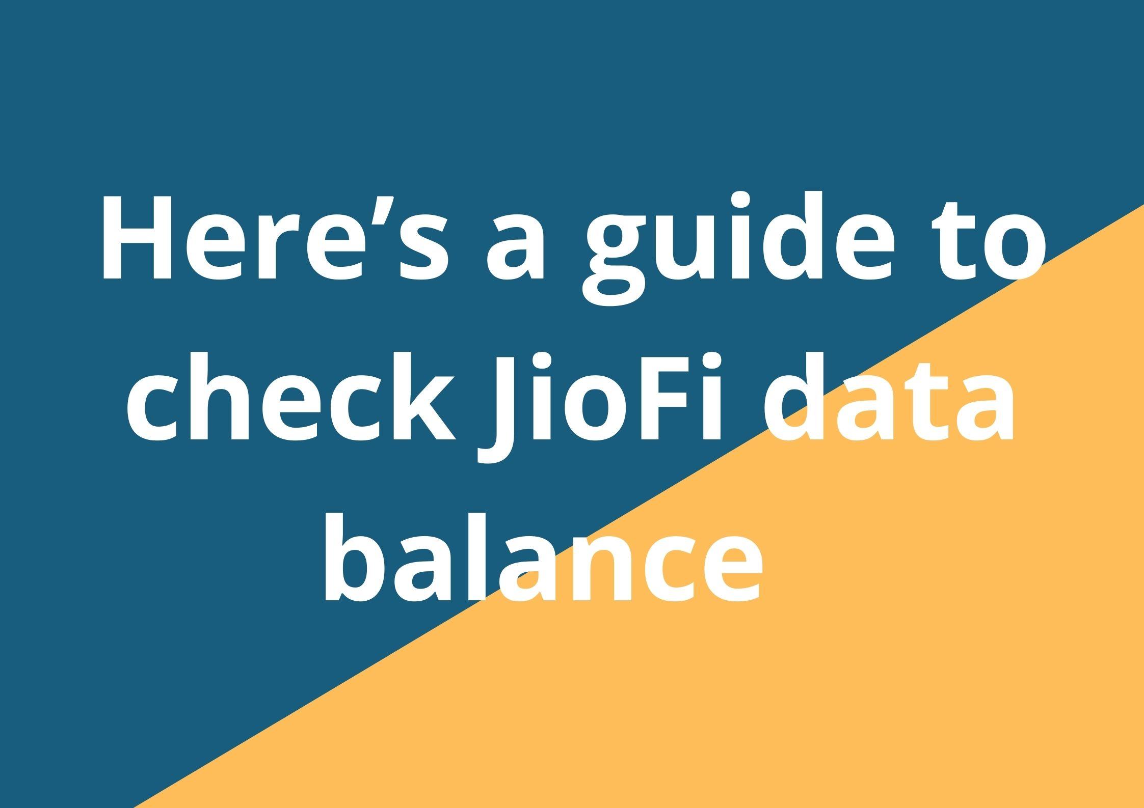 JioFi data balance