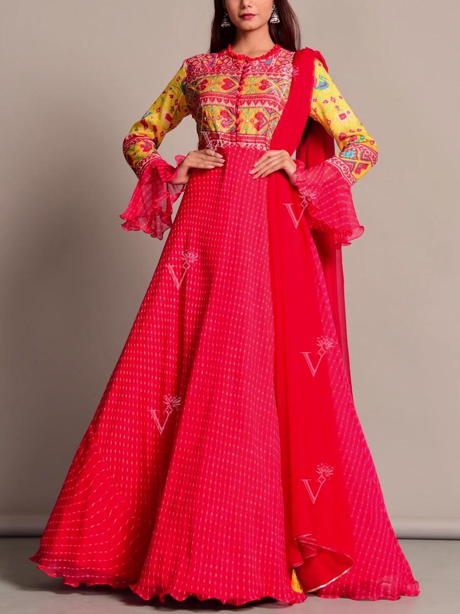 Anarkali Suits Online: Elegant Leheriya Anarkali Suit
