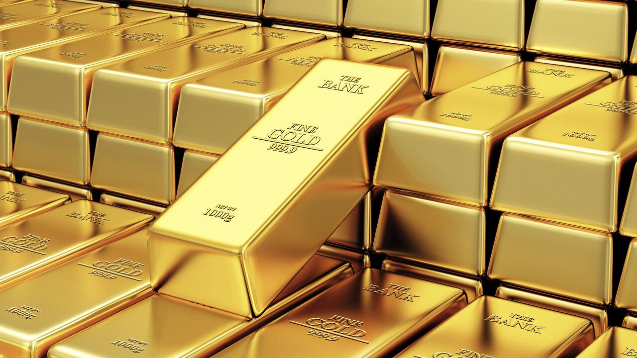Stack Of Golden Bars In The Bank Vault