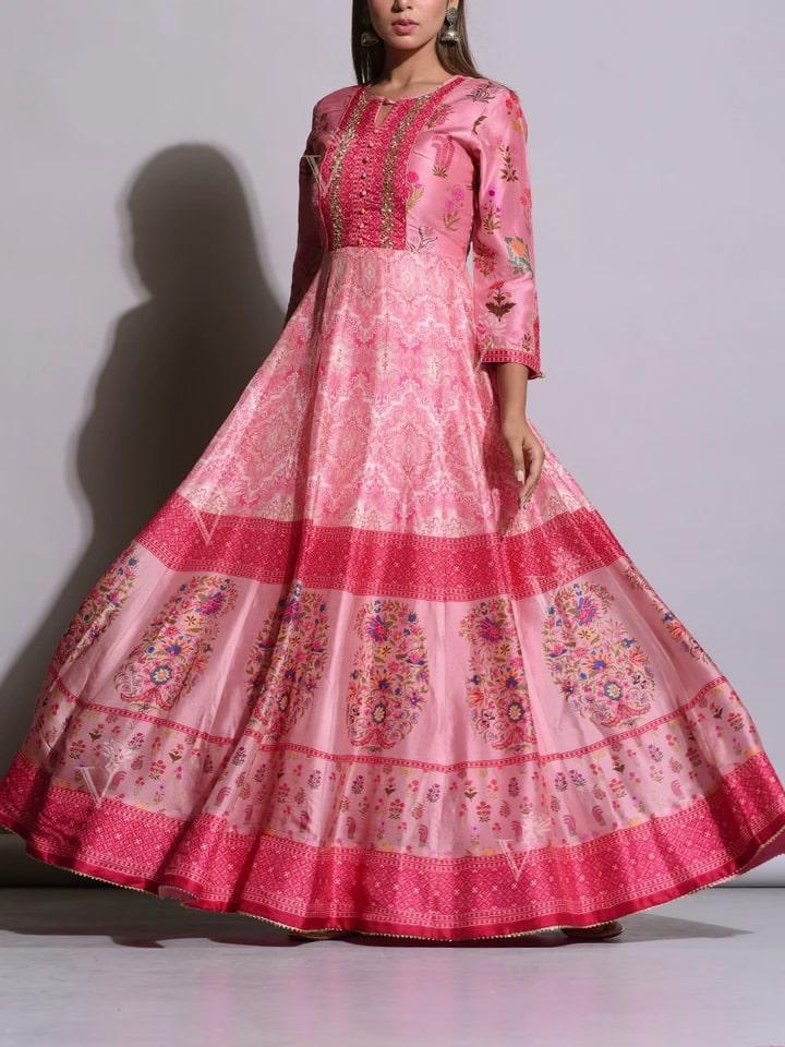 Baby pink Printed Silk Anarkali Gown
