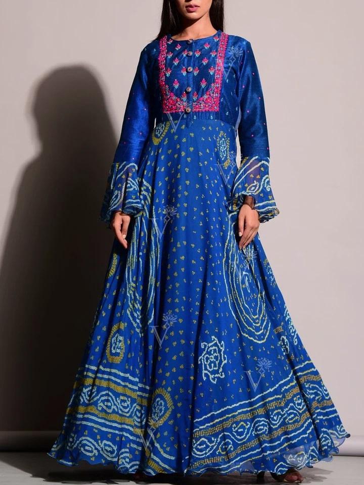 The Beautiful Blue Bandhej Anarkali Gown