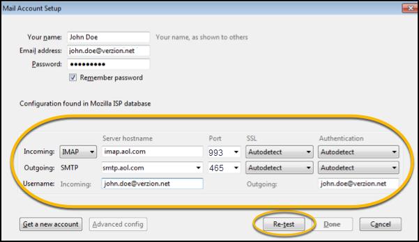 aol email server settings