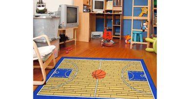 sports-themed rug like a basketball rug