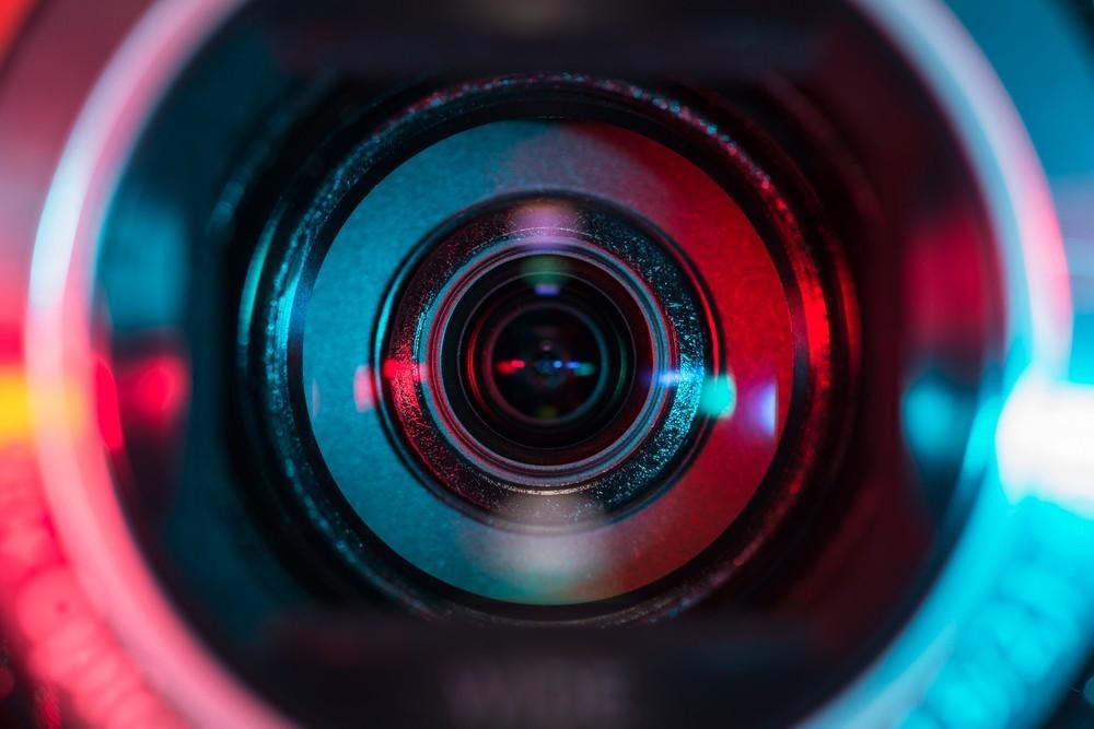 lens of a video camera